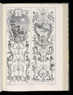 Two designs for upright wall panels in Rococo style. Left panel: within cartouche at upper center, a scene of putti figures sleeping beneath a tent in a lawn. In right background, partial view of a castle. Portrait busts flank design at lower center. Right panel, within cartouche at upper center, a scene of putti upon a cloud, one of whom holds a staff with a cross on it. Dragons flank ornamental design at bottom.