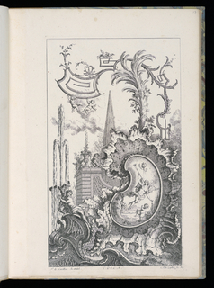 Cartouche with nude figure blowing horn and putti, framed by rocaille motif. Architectural background with pointed structure surrounded by wall with putti. Left, female figure holding cornucopia with spewing water; above, fantastic plant formation and putti.
