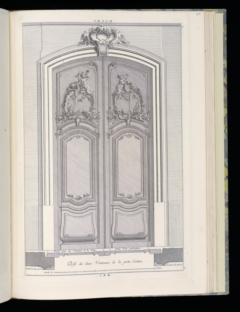 Design for double doors in Rococo style with two decorative upper panels. Each panel depicts a rocaille fountain topped by a dolphin spewing water and a herm. At left, the herm figure blows a conch shell horn. Scale at lower center.