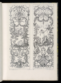Folio 7, plate 6 of series 6. Both designs for decorative panels cconsist of ornamental scrollwork in Rococo style. At the center of the left panel, a mountain landscape scene with two putti holding flowers in the clouds above. At the center of the right panel, a landscape scene with a seated female figure wearing a crown and holding a large obelisk. A putto holding a banner and another carrying a branch surround her.
