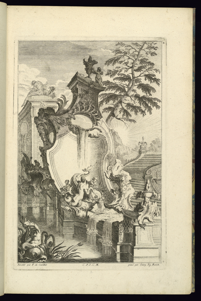 Print, Design for Fountain with Putto Riding a Dolphin, 1745