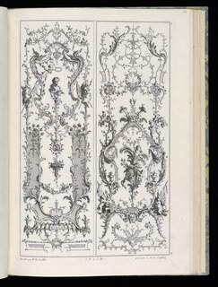 Two designs for upright wall panels in Rococo style. Left panel: a male portrait bust at upper center surrounded by armorial trophies. Right panel: two putti figures surrounding a palm at lower center.