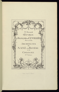 Drawn title page (not original) for miscellaneous volume with prints after François II de Cuvillès. Rocaille design borders text, which reads: 3e.. Recueil/OEUVRES/de FRANÇOIS De CUVILLIÈS/Père et Fils/ARCHITECTES/de/S.A.S.E. de BAVIÈRE/et de/COLOGNE/1er.. Volume. Volume itself in modern, half leather binding with marbled borads, on the spine: OEUVRES DE CUVILLIÈS/PÈRE ET FILS/3E RECUEIL/1R VOLUME. The volume is 45 cm by 31.2cm. The volume was rebound in 1974.