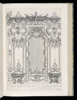 Design for an interior wall decoration with applied ornamental stuccowork. At center, a wall panel with large mirror flanked by two trumeaux with console tables. Scale at lower right.
