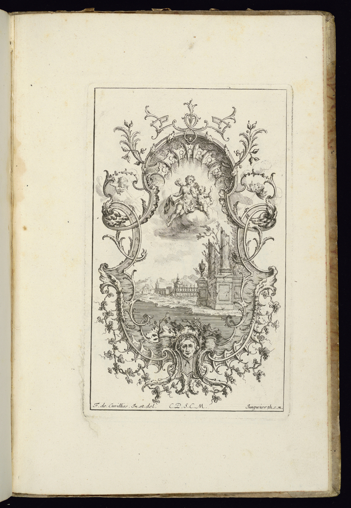 Design for upright symmetrical cartouche with two winds at left and right and a mascaron at lower center. Within the frame, a landscape scene depicting a palace and architectural ruins, above which a female figure of Flora floats upon a cloud, a putto at right.