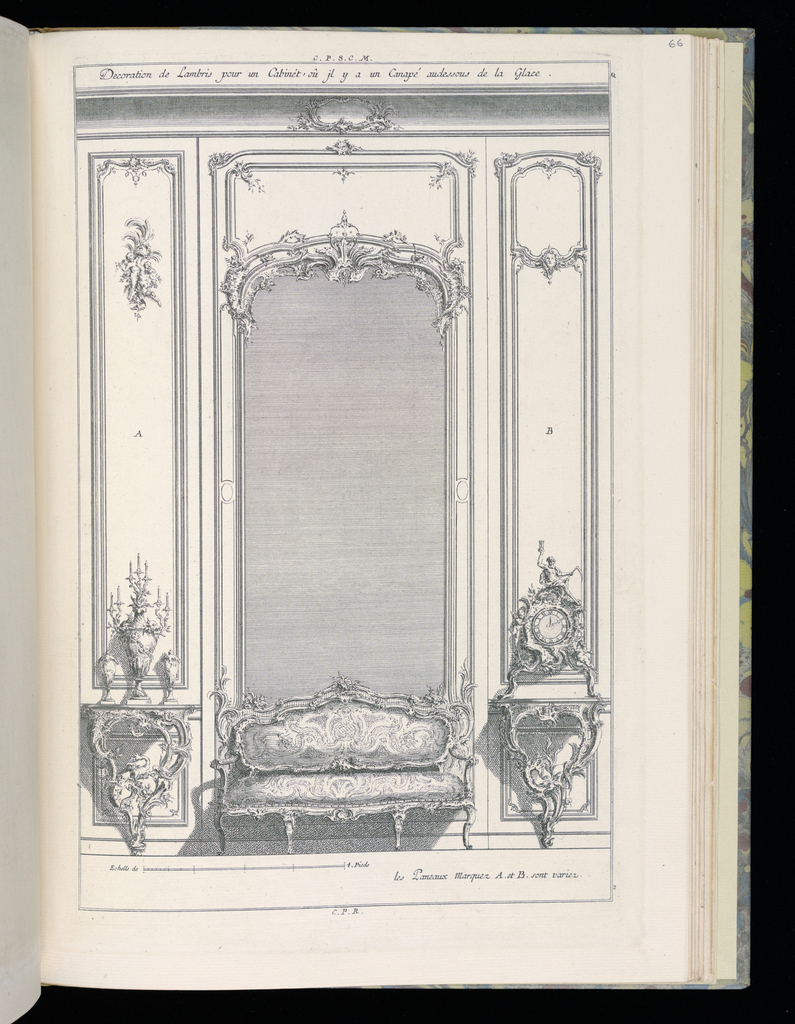Design for interior wall in Rococo style with wainscoting and decorative panels in various styles at left and right. At center, a large framed mirror with an ornate upholstered canapé sofa below. Flanking the sofa are two console tables, the bases with rocaille forms bearing dragons. On the table at left, candelabrum and vases. On the table at right, a clock topped with a figure of Time holding an hourglass and a scythe. Scale at lower left.
