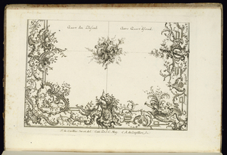 Design for two quarters of an irregular ceiling in the Rococo style with alternate suggestions divided by a central rosette.