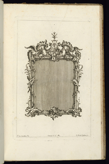 Upright frame design for a mirror or painting, rectangular form, topped with rocaille volutes and a pair of wings. Vegetal decoration completes the ornamental scheme.