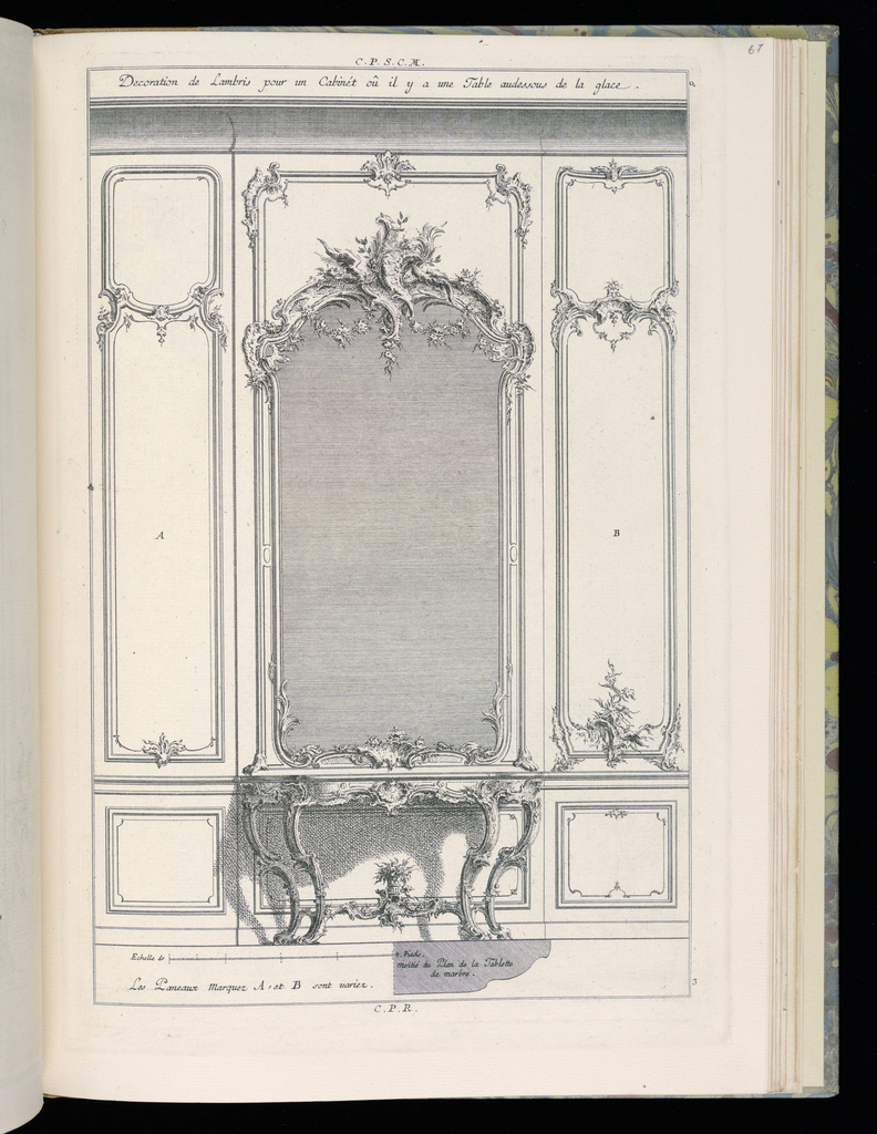 Design for an interior wall in Rococo style. At the center, flanked by two panels in varied decorative schemes, is a large framed mirror topped by ornamental scrollwork and vegetation. Below the mirror, a four-legged console table to be executed in marble; a vase with flowers at its base; the shadow of the table indicated on the wall behind it. Scale at lower left.