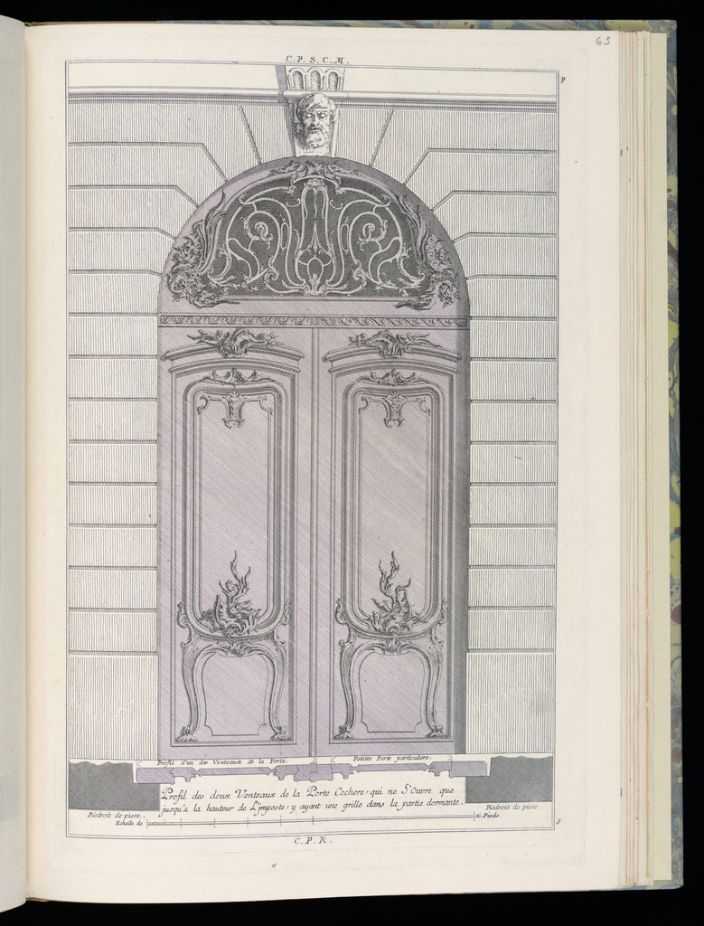 Design for a carriage door (double door) in Rococo style. Each door decorated with panels topped by scrollwork decoration. In the arched grille above the transom, scrolling vines. Above, a face of a man with closed eyes. Scale at bottom center.