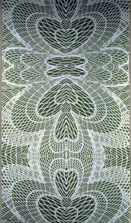 Printed in green on white. Pattern shows elaborate variations of a heart shape, treaded in a concentric manner; symmetric all-over pattern.