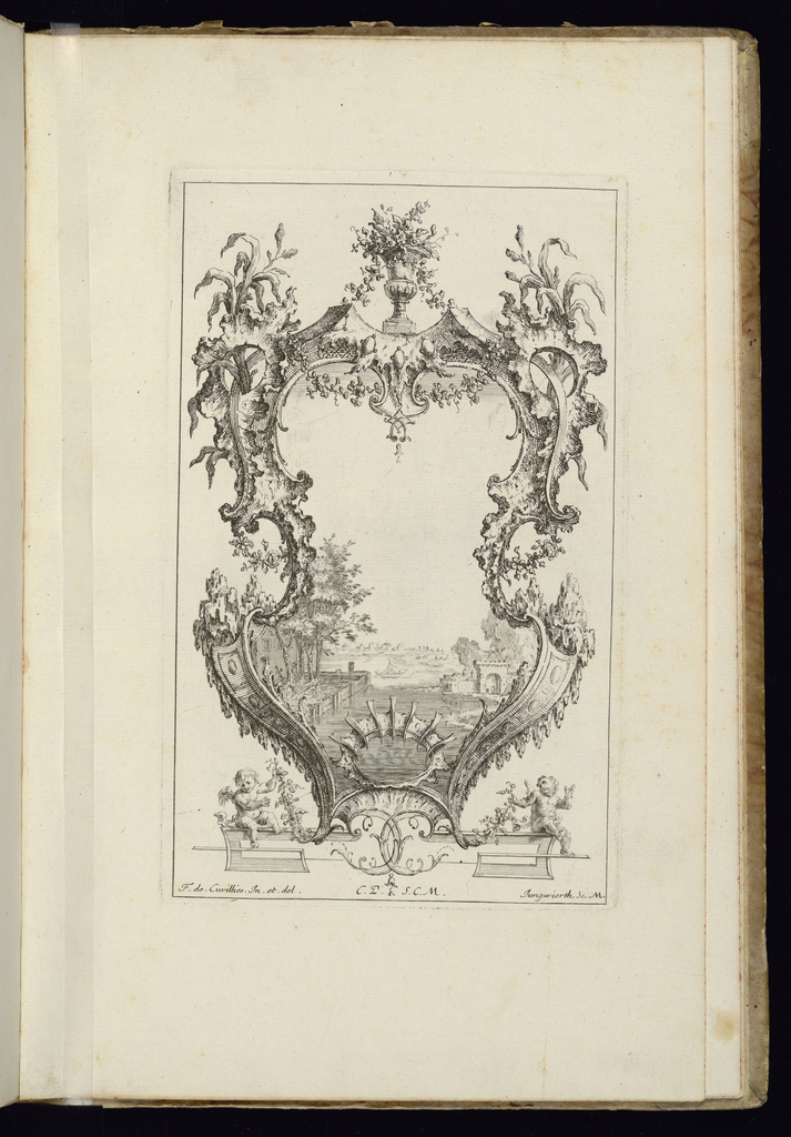 Design for upright symmetrical cartouche topped with urn full of flowers and surrounded by vegetal decoration. Within the frame, a riverscape scene with a boat upon the water. Shoreline at left and right with architectural buildings partially in view and in the distance.