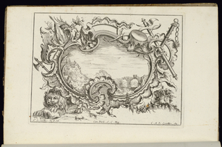 Asymmetrical oblong cartouche in Rococo style with a lion at lower left and a boar at top. Military weapons (ax, mace) surround the ornamental frame. Within cartouche, a landscape scene depicting a building on the edge of a cliff near a valley; aqueduct at lower right.
