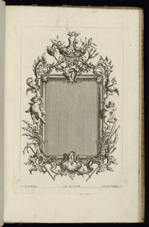 Upright frame design for a mirror or painting, rectangular form, topped with two dolphins. Figures of putti hanging onto the tails of dragons at left and right. Trumpets and weapons below.