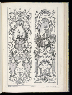Two designs for upright panels in Rococo style. Left panel: within cartouche at upper center, a putto figure with a whip and two dogs. At upper left and right, putti blowing water through horns. Right panel: within cartouche at upper center, a scene of two putti playing on a seesaw in a landscape with architectural ruins, including an obelisk. Dragons flank the cartouche.