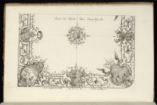 Design for two quarters of a ceiling in the Rococo style with alternate suggestions divided by a central rosette; the corner of the right variant is round.