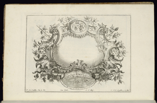 Blank symmetrical oblong cartouche in Rococo style framed vines of wine leaves and grapes. At lower center, a pool of water with two swimming birds.
