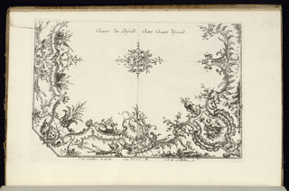 Two quarters of a ceiling in the Rococo style with alternate suggestions, with a central rosette; the corner of the left variant cut.