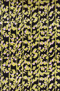 Printed in pink, green and black.  Pattern shows all-over lupine flower elements.