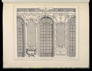 Design for interior in Rococo style featuring two trumeaux with ornamental frames intended for mirrors. Below the mirror at left, a console table. Flanking the trumeaux are large arched double windows. Scale at lower center.