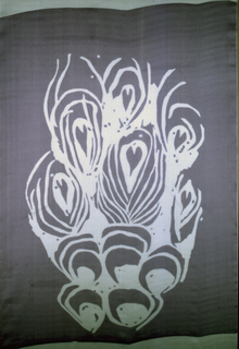 Printed in mauve.  Pattern in white shows abstract interpretation of a spread peacock tail.