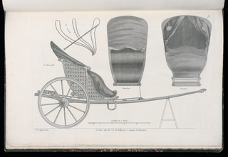 Plate 9, Folio 9 of a series of 13 prints of designs for carriages or coaches. The open, horse-drawn carriage has Rococo silhouette, shown in elevation, with details at upper right. The body is decorated with marquetry inlay.