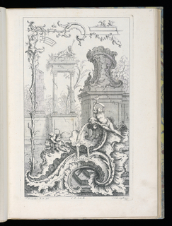 Lower section, large rocaille formation spewing water with reclining nude woman. Left, figure wrestling with ram. Above, ruins, figure with triton sitting atop entablature of two Corinthian columns, partial obelisk, decorative rocaille element on wall in tree-filled landscape. Left, figure growing out of tall plant holding fantastic border design.
