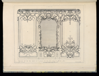 Design for interior in Rococo style. View of wainscoting with three panels, the center one containing a mirror and with the most elaborate frame (vegetal imagery throughout and a head of a Cherub at top). Flanking the mirror are two panels in alternative designs. Scale at lower center.