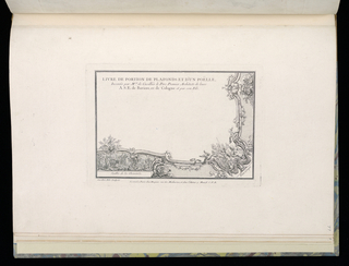 Title page of book of designs for portions of ceilings and for ceramic woodburning stoves. Decorative border along bottom and right edges. At lower right corner, a scene of putti figures fishing from shore, a waterbird below them. Within the frame at left, a farm scene depicting a woman and a cow. Along borders at bottom and right, groups of tools, styled as a trophy.