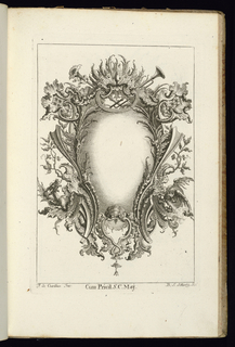 Blank symmetrical upright cartouche in Rococo style with peacock feathers and two trumpets at top. Dragons at lower left and lower right. Vegetation and armorial trophies complete the ornamental scheme.