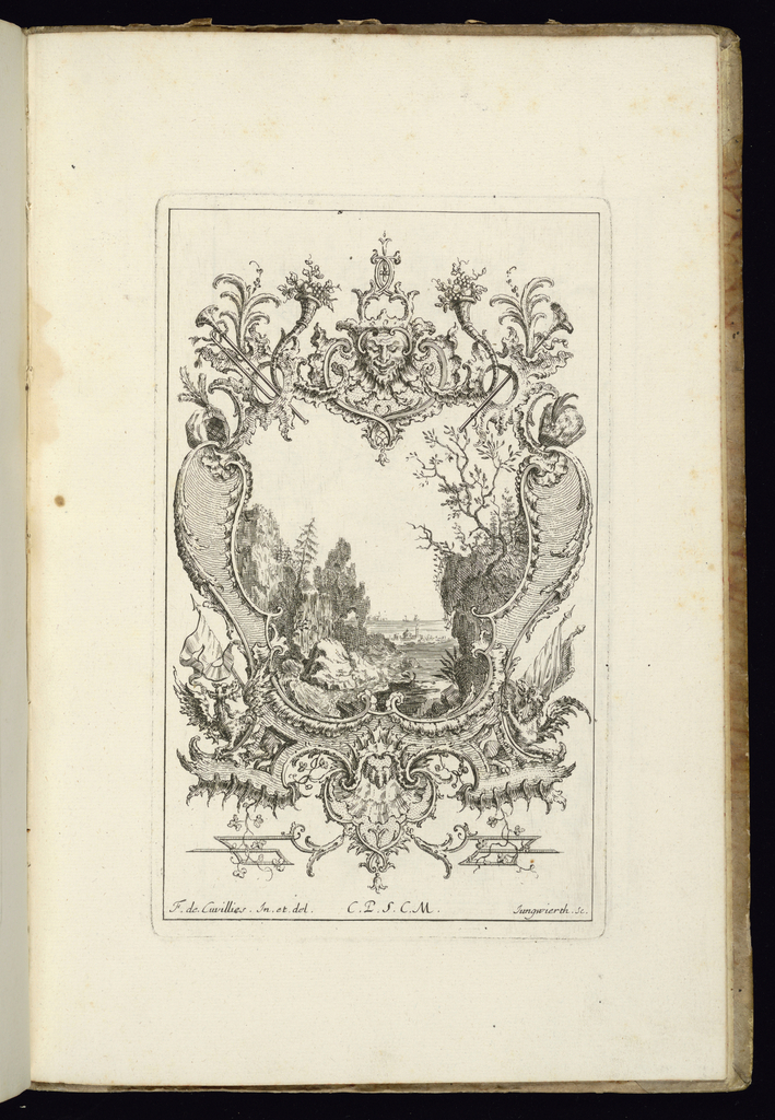 Design for symmetrical upright cartouche topped by a mask with dragons at lower left and right. Within the frame, a landscape scene of a valley between two mountains, a small town or village indicated by buildings in the distance.