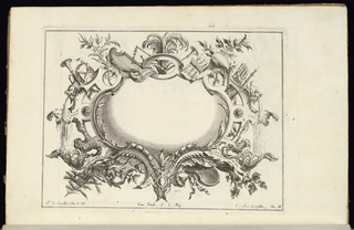Blank oblong symmetrical cartouche in Rococo style surrounded by musical instruments. Two masks at left and right, from the mouths of which pour streams of water.