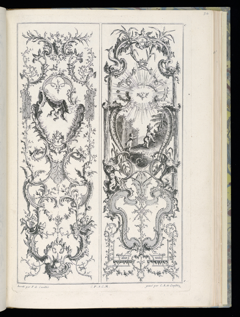 Two designs for upright wall panels in Rococo style. Left panel: at upper center, two putti figures fight or play beneath drapery. Right panel: within cartouche at upper center, a scene with three putti figures playing in a landscape, one riding the shoulders of another. Above them, a beaming sun flanked by dolphins.