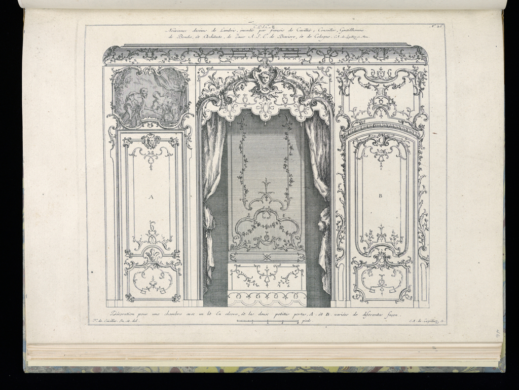 Interior design in Rococo style depicting an alcove with bed. At either side, two small doors or trumeaux, the one at the left with a figural painting above depicting a man holding the arm of a woman. Scale at lower center.