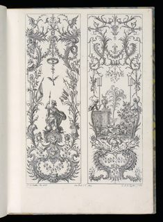 Folio 8, plate 7 of series 6. Two designs for upright panels in Rococo style. At left, panel decorated with masks, armorial trophies, banners, drums, and putti figures. A central male armored figure sits upon a rock and holds a spear and shield. At right, panel decorated with masks, scrollwork, armorial trophies. At center, a fantastical landscape scene with pyramid in background. Seated in the foreground is a group of putti drinking wine, the figure at center vomitting on the ground.