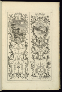 Left two putti sleeping; right putti with a staff.