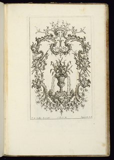Design for upright symmetrical cartouche, armorial trophies at either side and a mask at lower center. Within the frame, a vase topped by two dolphins, water pouring from their nostrils.