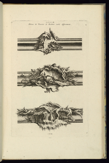 Print, Design for Three Parts of Picture Frames, 1745