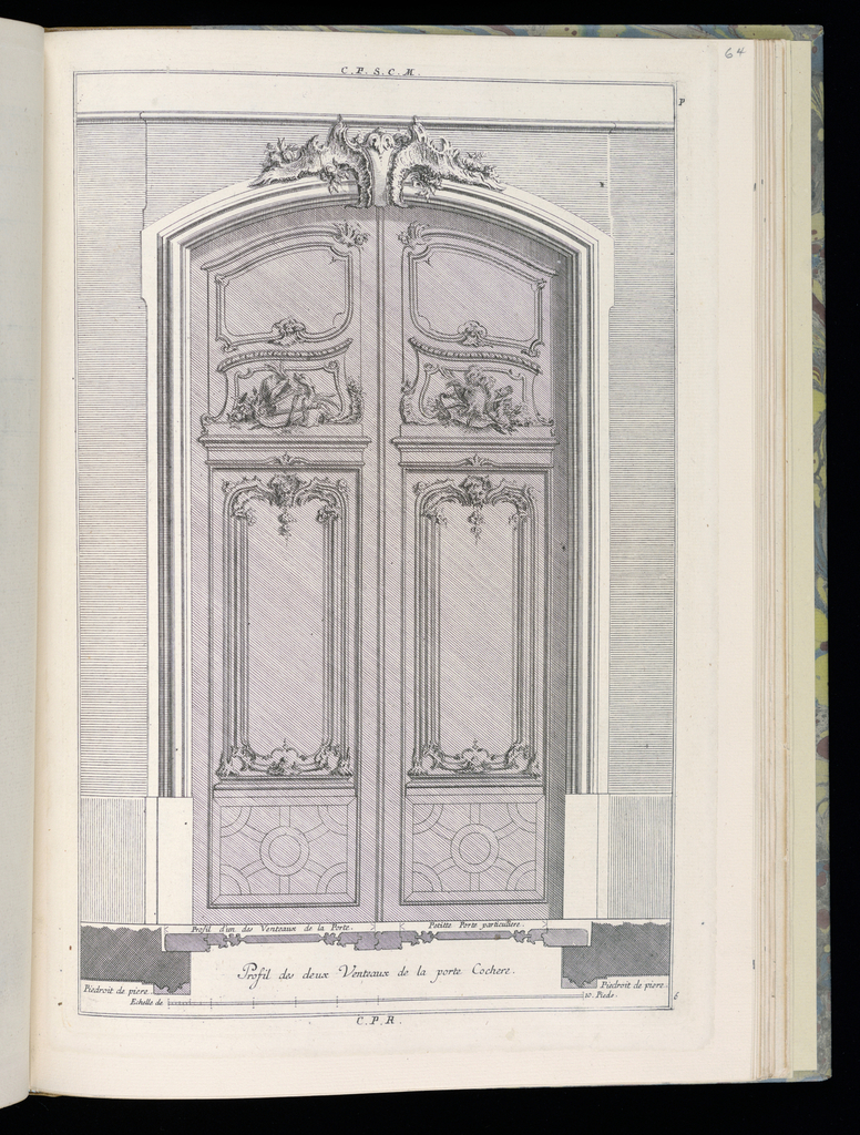 Design for a carriage door (double door) in Rococo style. Each door decorated with panels, geometric designs at bottom. The doorjamb made of stone. Scale at bottom center.