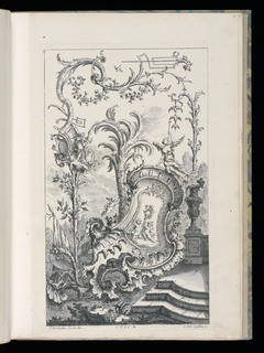 Large rocaille-framed cartouche depicting two putti holding a staff with helmet, above, winged figure blowing horn. Left, plant bearing fruit topped with putto holding helmet and axe with escutcheon, leading to curled branches, some of which turn into geometrical trellis-like design. Right of cartouche, stairs with wall and vase.