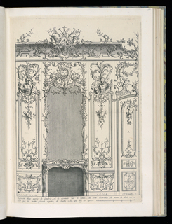 Design for an interior wall decoration with applied ornamental stuccowork.  A chimneypiece at left with a large mirror above surrounded by decorative panels. Half of a double door visible at right. Scale at lower left.