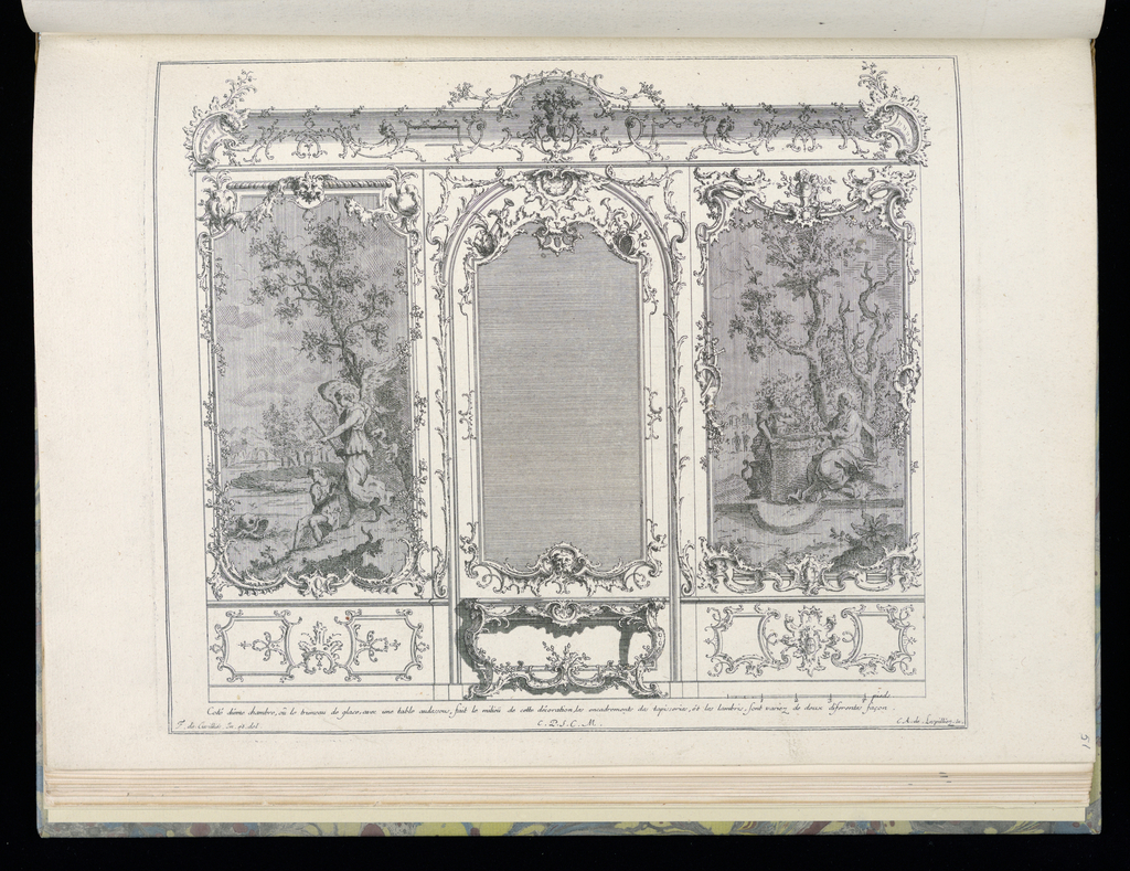 Design for interior in Rococo style with wainscoting. At center, a large framed mirror with a console table below. Surrounding the mirror are two figural tapestries, each depicting different scenes and with alternative stucco framing. At left, a scene with a winged angel, male figure, and a dolphin. At right, a man and woman collect water from a well. Scale at lower right.