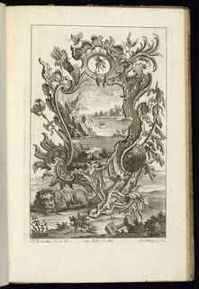 Asymmetrical upright cartouche in Rococo style topped with a carquois, a lion at lower left. Armorial trophies and vegetation decorate the sides of the ornamental frame. Within cartouche, seascape scene with rocky islands; buildings visible on the shore.