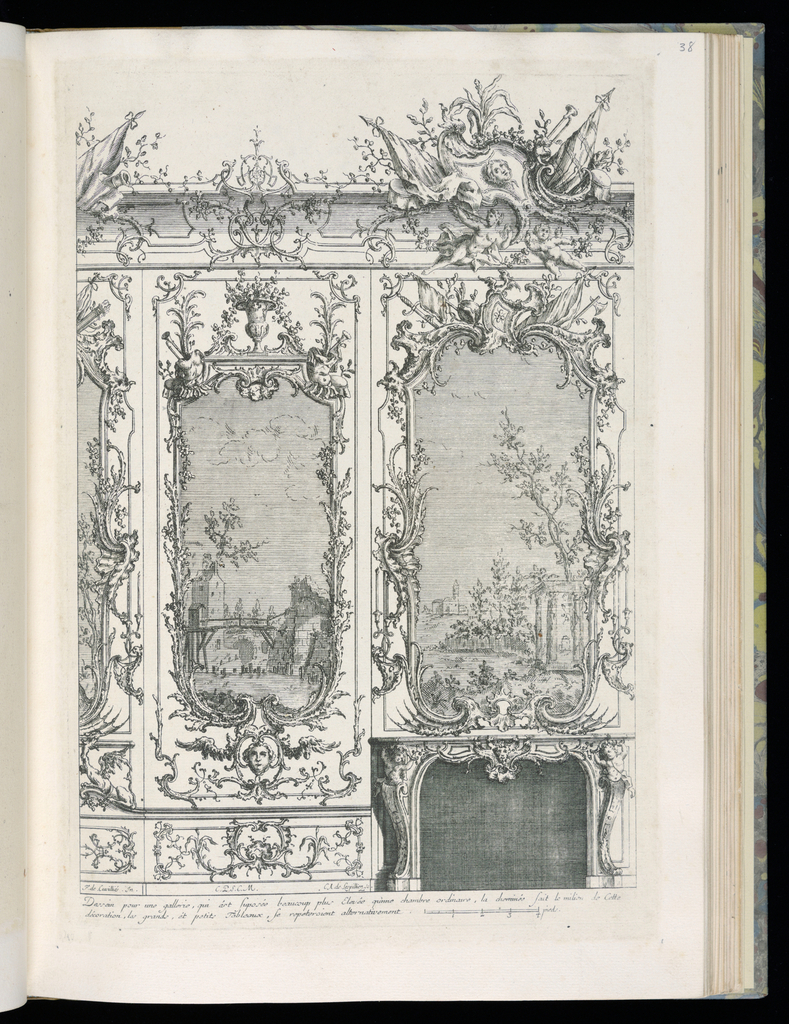 Design for an interior wall decoration with applied ornamental stuccowork. At right, a chimneypiece with a large painting above depicting a landscape and architectural ruins. A similar, smaller painting at right, both contained within highly decorative frames. At upper right, a small escutcheon with the face of a figure surrounded by banners, a putto and nude figure below. Scale at lower right.