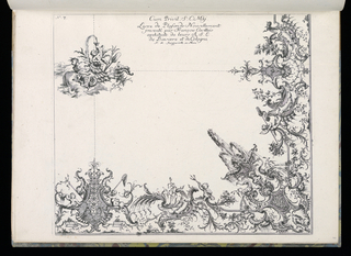 Design for a ceiling with water motifs. Upper left (presumed central ceiling motif) seated on an arrangement of coral and shell, a putto figure blowing water through a horn. A triton and paddle to the right side. A rustic god blowing wind, at left. Below at right angle an asymmetric design with putti, fish nets, tritons, a water fountain (in corner), flowers, leaves and cartouches, elements of a fantastic water design. Sections are connected with dotted lines, presumably as a guide for the stucco decor.