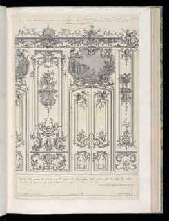 Design for an interior wall decoration with applied ornamental stuccowork. A large set of double doors with an overdoor landscape painting above within decorative frame. At either side, two wall-mounted brackets with vsaes. Scale at lower left.