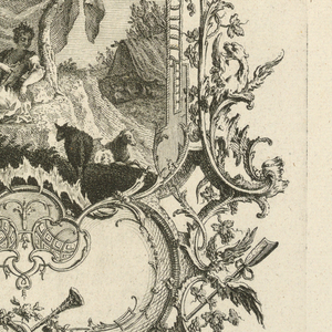 Print, Design for Cartouche with Large and Small Compartments, 1745