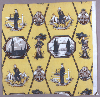Yellow ground with design in blue, white and brown. Commemorative textile with round medallions enclosing three feathers of the Prince of Wales and a flowering thistle. Octagonal medallions showing Tower Bridge and the Houses of Parliament. In between the medallions is a soldier, sailor, bagpipe player and a foreign solider with a goat.