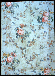 Vertical rectangle. All-over pattern of flower-stems and flowers forming framework which encloses bunches of flowers, largely roses, with an occasional single dragon fly. Blue-green field, with naturalistic colors in design.