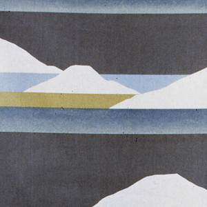 Continuous repeat of three bands across the width of the fabric with white mountain peaks as if in the distance against warm and cool neutral middle tones.